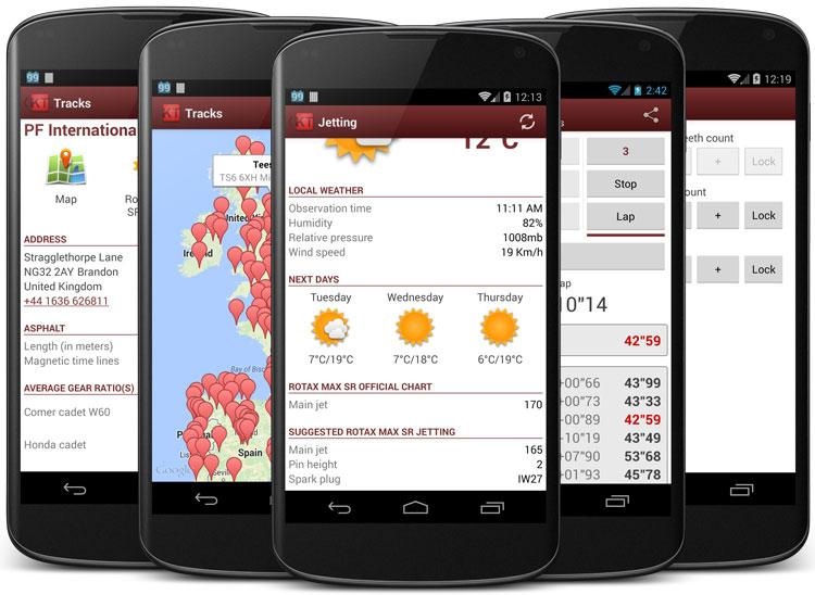 Captures d'écran de l'application Karting Tools